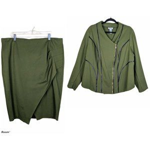 Catherine's Curvy Green Leather Skirt Suit